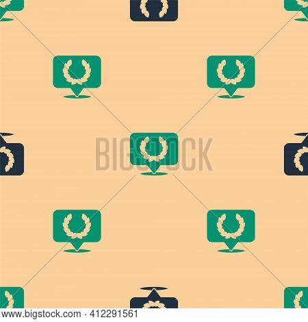Green And Black Laurel Wreath Icon Isolated Seamless Pattern On Beige Background. Triumph Symbol. Ve