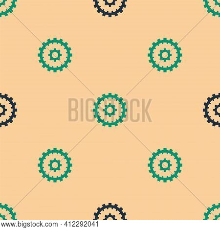 Green And Black Bicycle Cassette Mountain Bike Icon Isolated Seamless Pattern On Beige Background. R