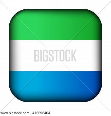 Glass Light Ball With Flag Of Sierra Leone. Squared Template Icon. National Symbol. Glossy Realistic