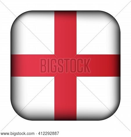 Glass Light Ball With Flag Of England. Squared Template Icon. English National Symbol. Glossy Realis