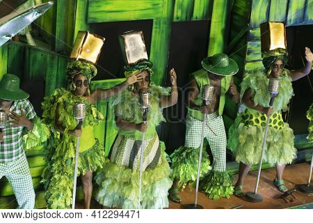Rio, Brazil - February 24, 2020: Parade Of The Samba School Mocidade Independente De Padre Miguel, A