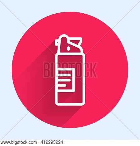 White Line Weapons Oil Bottle Icon Isolated With Long Shadow. Weapon Care. Red Circle Button. Vector