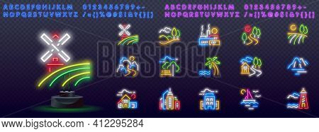Agriculture Neon Icons, Vector Neon Glow On Dark Background. Agriculture Neon Icons. Farms, Fields,