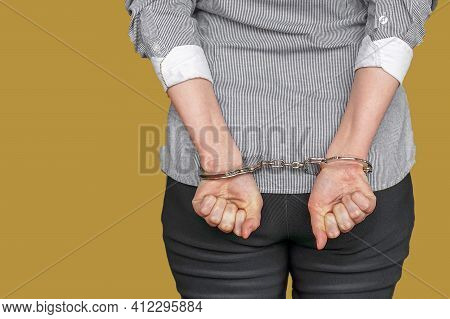 Arrested Woman Handcuffed Hands At The Back