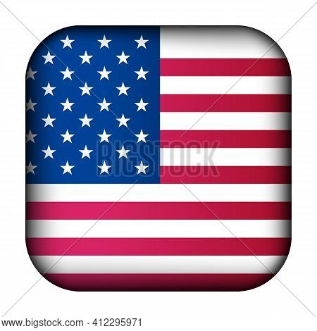 Glass Light Ball With Flag Of Usa. Squared Template Icon. American National Symbol. Glossy Realistic
