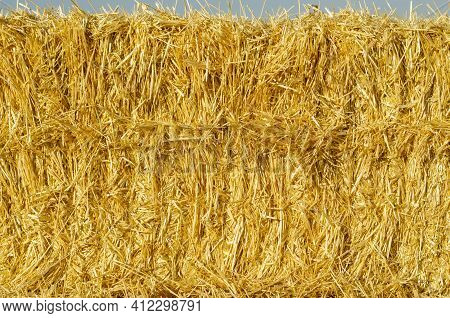 Hay Bale Background. Hay Texture For Agriculture Concept