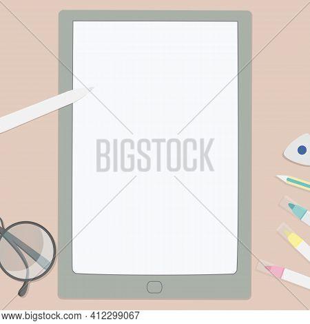Vector Illustration Of Felt Pens, Digit Tablet, Eyeglasses Etc. Art Workplace In Flat Cartoon Style,