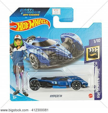 Ukraine, Kyiv - February 08. 2021: Hot Wheels Toy Car  Hyperfin Close Up Picture. Hot Wheels Is A Sc