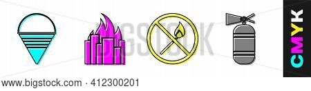 Set Fire Cone Bucket, Fire In Burning Buildings, No Fire Match And Fire Extinguisher Icon. Vector