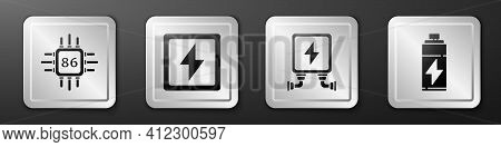 Set Processor With Microcircuits Cpu, Lightning Bolt, Electric Transformer And Battery Icon. Silver