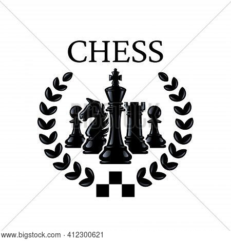 Chess Emblem. Chess Pieces King, Knight, Rook, Pawns With A Wreath. Vector Illustration Isolated On