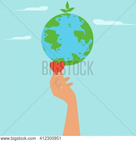 Happy Earth Day. A Globe And A Woman's Hand With A Heart. Vector Environmental Illustration. Poster