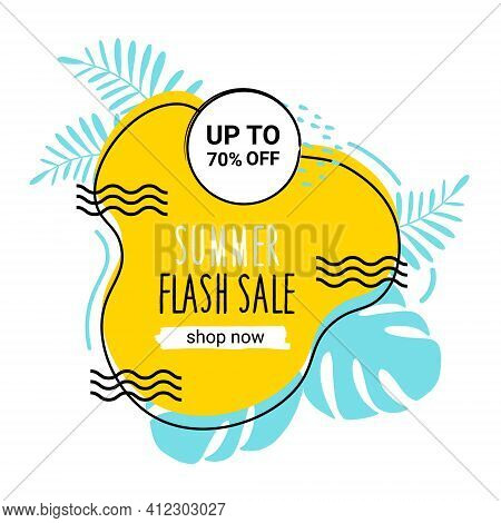 Banner Of The Summer Flash Sale. Isolated On White. Seasonal Yellow Banner With Tropical Leaves. Wit