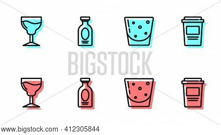 Set Line Glass Of Rum, Wine Glass, Alcohol Drink Rum And Coffee Cup To Go Icon. Vector