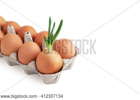 Chicken Eggs And Green Onions. Green Onions And Brown Raw Eggs In An Egg Box Isolated On A White Bac