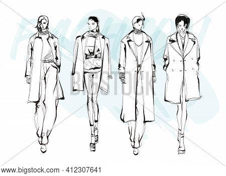 Beautiful Young Women In Modern Style.. Hand Drawn Stylish Woman Portrait. Fashion Lady. Winter Outf