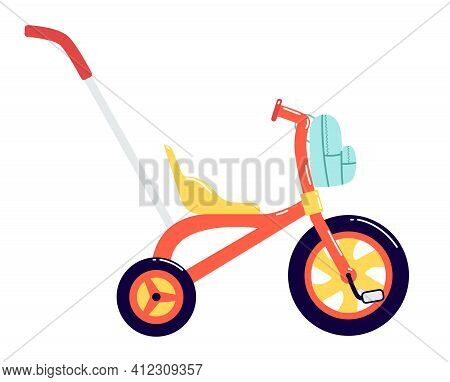 Children's Tricycle With A Backpack In Front. Children's Bike With A Large Front Wheel And A Handle