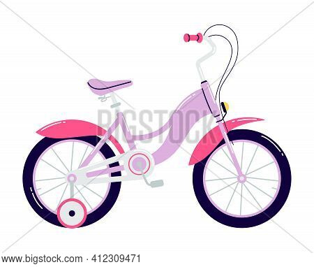 Children's Four-wheeled Bicycle With A Hand Brake. Cartoon Purple Bike With Pink Fenders And Removab