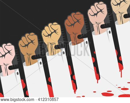Police Brutality Concept , Protest With Raised Hands In Opposite To Police Batons Covered In Blood,