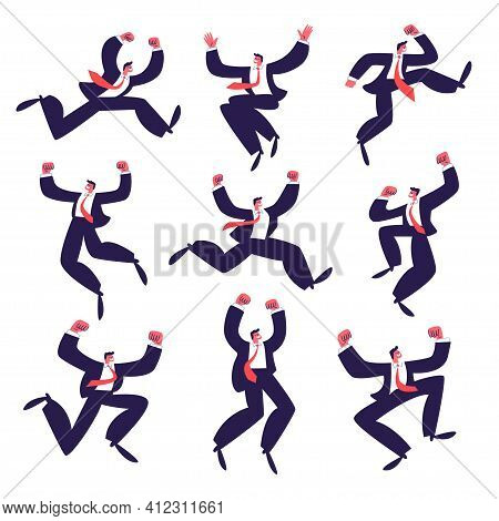 Set Of Happy Businessmen Jumping. A Group Of Active Successful Young Men In A Dark Suit With A Red T