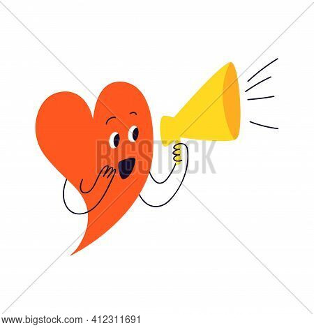 The Red Heart Announces Through The Yellow Loudspeaker. A Cute Cartoon Character In The Form Of A He