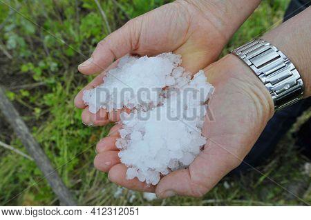 Big Hailstones After A Hailstorm
