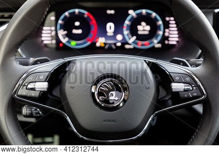Prague, Czech Republic - February 25, 2021: Steering Wheel Of Skoda Vehicle In Prague, Czech Republi