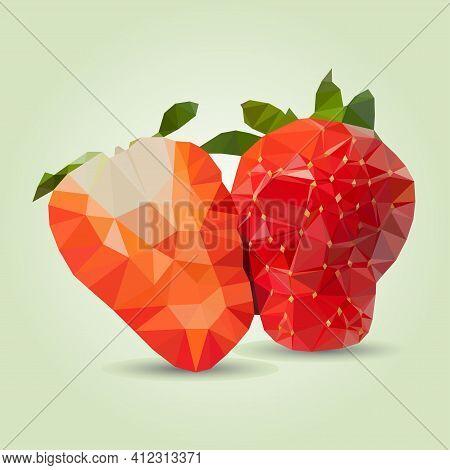 Vector Illustration Triangulation Strawberries. Delicious, Ripe Strawberries. The Concept Of Ecologi