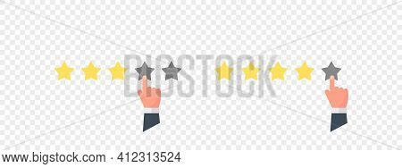 Rate Us Concept. Rate Sign. Rating System Based On Stars. Vector Illustration
