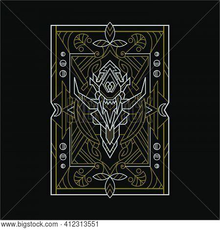 Deer Skull Line Illustration For Merchandise, Apparel, Or Other