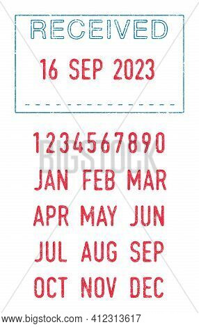 Vector Illustration Of The Received Seal With The Editable Dates (day, Month And Year) In Ink Stamps