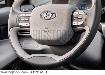 Prague, Czech Republic - February 2, 2021: Steering Wheel Of Hyundai Vehicle In Prague, Czech Republ