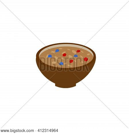 Oatmeal Porridge With Berries On A Plate. Vector Illustration.