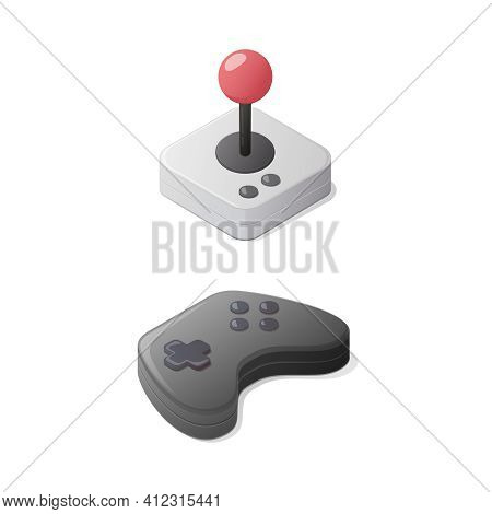 Video Games Concept. Gamepad And Joystick Controller. Isometric Vector Illustration. Isolated On Whi