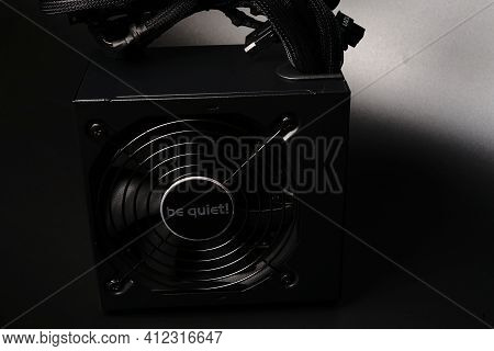Moscow, Russia - March 3 2021: Branded 700-watt Personal Computer Power Supply On A Black Background