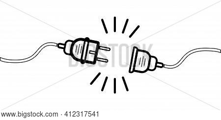 Vector Unplugged Sockets. Editable Stroke. Minimalistic Design Of 404 Bugs On A White Background. El