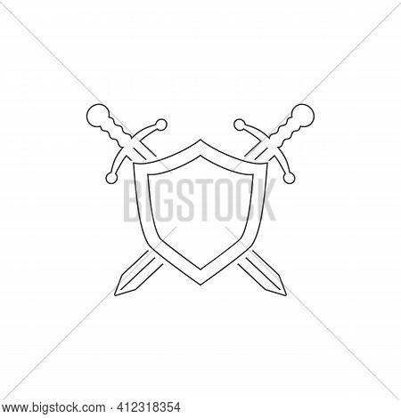 Vector Shield Line Icon, Flat Design Best Shield Icon, Sword Icon Conception Shield Icon