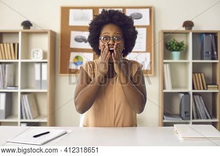 Shocked African American Woman Showing Surprise Wow Expression Looking At Camera