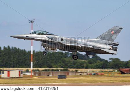 Fairford, United Kingdom - July 11, 2018: Polish Air Force Lockheed Martin F-16c Fighting Falcon 405