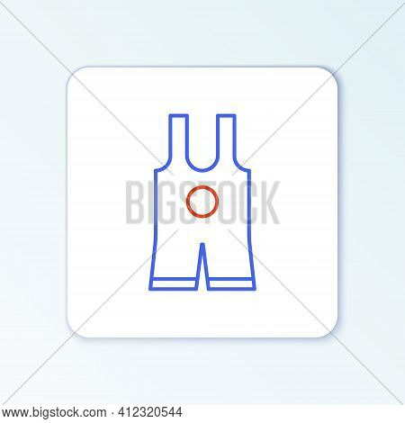 Line Wrestling Singlet Icon Isolated On White Background. Wrestling Tricot. Colorful Outline Concept