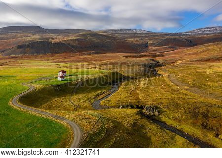 Sheep Farm In Iceland From Up High. Combination Farm And Landscape Shot With Background Hills, Water