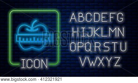 Glowing Neon Apple And Measuring Tape Icon Isolated On Brick Wall Background. Excess Weight. Healthy