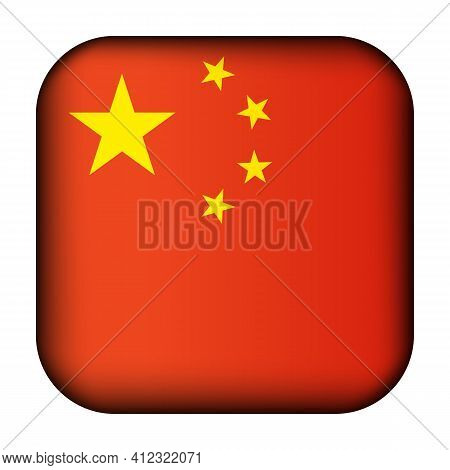 Glass Light Ball With Flag Of China. Squared Template Icon. Chinese National Symbol. Glossy Realisti