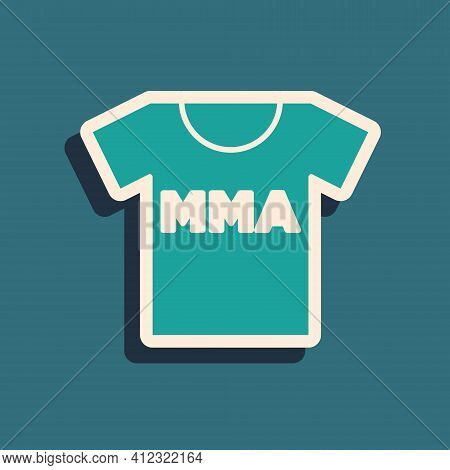 Green T-shirt With Fight Club Mma Icon Isolated On Green Background. Mixed Martial Arts. Long Shadow
