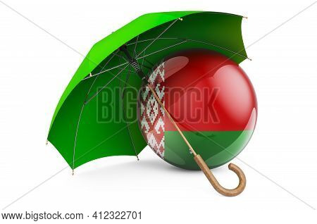 Belarusian Flag Under Umbrella. Protection And Security Of Belarus Concept, 3d Rendering Isolated On