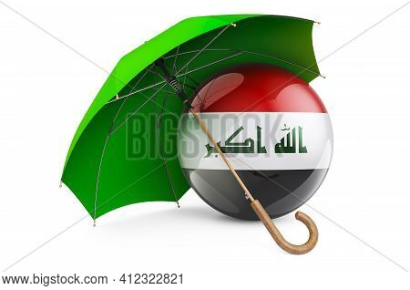 Iraqi Flag Under Umbrella. Protection And Security Of Iraq Concept, 3d Rendering Isolated On White B