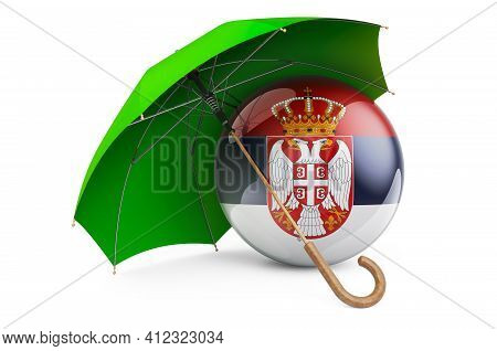 Serbian Flag Under Umbrella. Protection And Security Of Serbia Concept, 3d Rendering Isolated On Whi