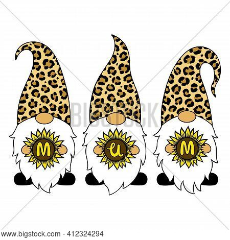 Leopard Gnomes With Sunflower. Mum Phrase. Happy Mother's Day Vector Card. Cartoon Characters. Illus