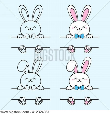 Easter Bunny Split Monogram With Blue Bow. Hare With A Bent Ear. Vector Cute Character For Greeting