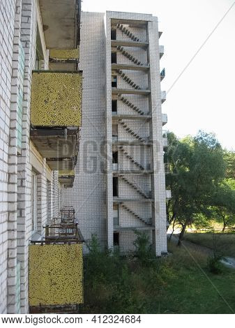 Abandoned Residential Buildings In The Village Of Orbita Near The Chigirin Nuclear Power Plant. Aban